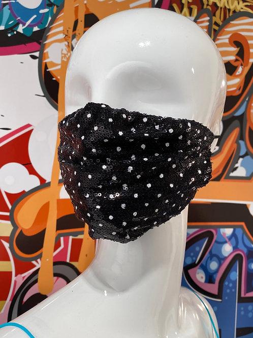 Polka Dot Sequin Curved Mask