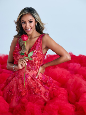 Tayshia Adams wearing Flame Collette Gown for her scandalous Season 16 of The Bachelorette. debue