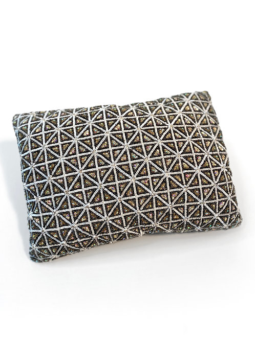 Couture Small Swarowski Pewter Crystal Beaded Pillow