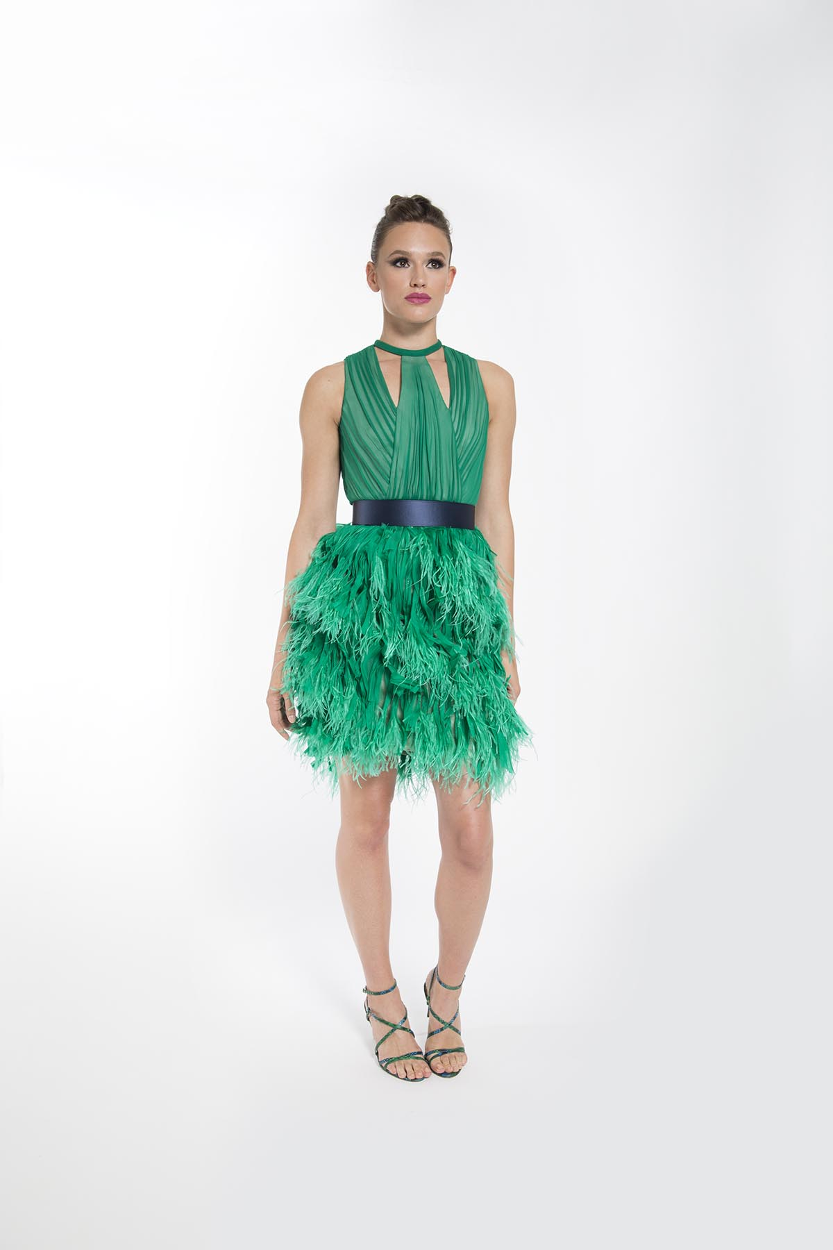 IRIS GREEN FEATHERED COCKTAIL DRESS