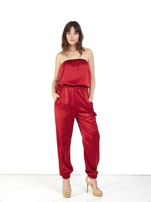 Silk Strapless Jumpsuit