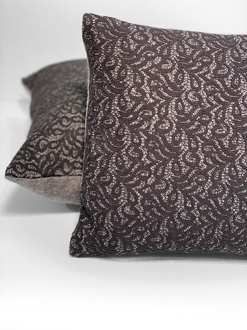 Couture Large & Medium Black Lace Embroidery Square Set of Pillows