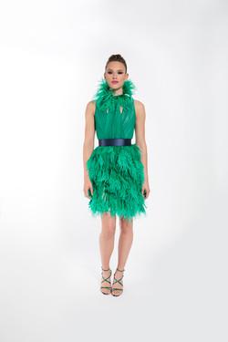 IRIS GREEN FEATHERED COCKTAIL DRESS COLLAR