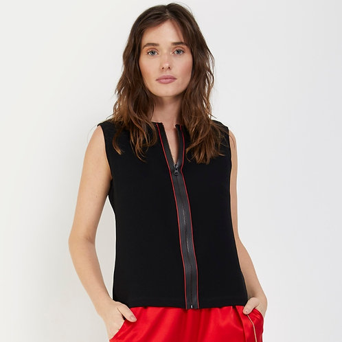 Zipper Top With Red Detail