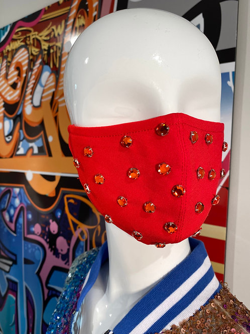 Red Rhinestone Curved Mask