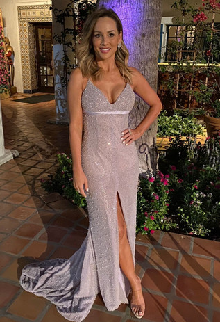 Clare in our Helene Gown
