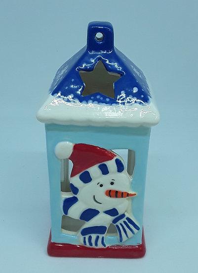 Snowman straight-sided Lantern 15cm h