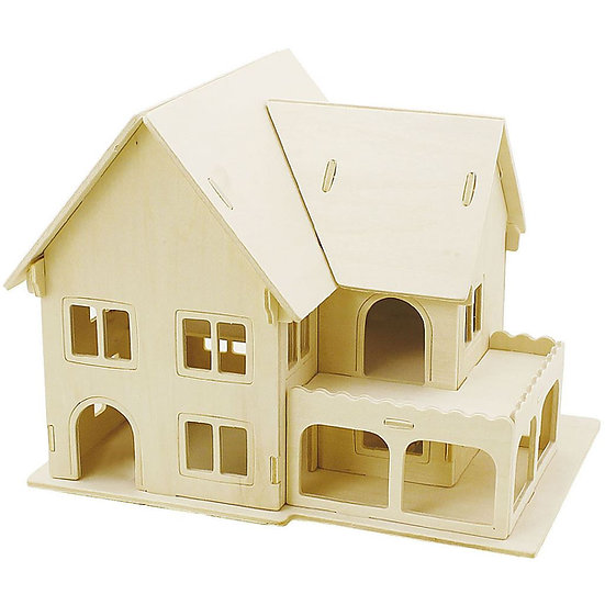 3D Wooden Construction kit - House with Veranda
