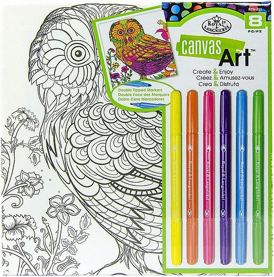 Owl canvas kit with Marker Pens