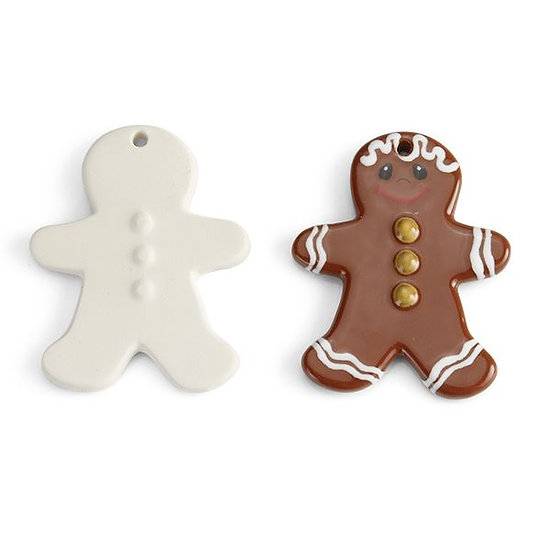 Flat gingerbread man tree ornament