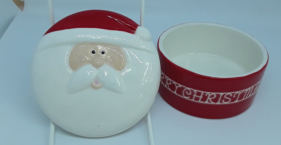 Santa trinket box with raised detail on face