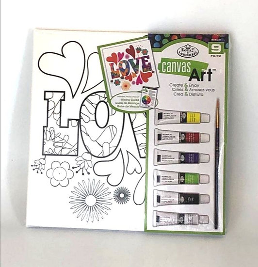 LOVE canvas kit with Acrylic Paints