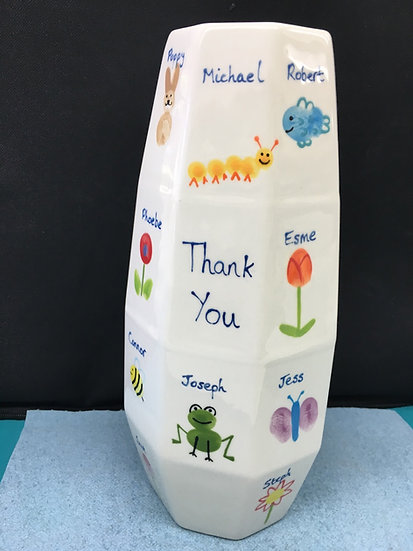 Tall Faceted Vase - 25cm h