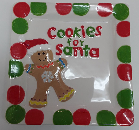 "Cookies for Santa Plate - raised detail - 8"" x 8"""