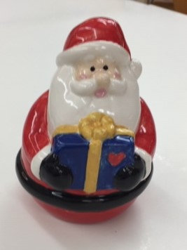 Chubby Santa with gift - 15cm h