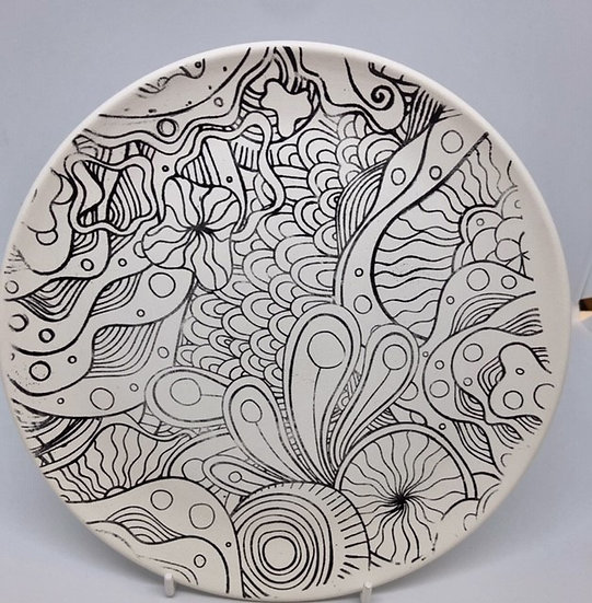 """Preprinted 8"""" coupe plate - Mindful Pattern"""