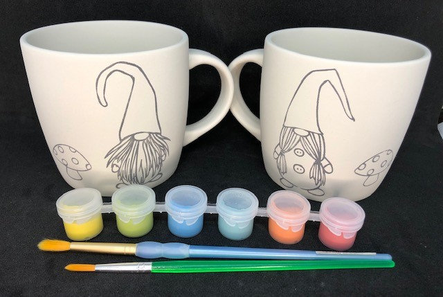 Pair of mugs - pre-screened with gnomes