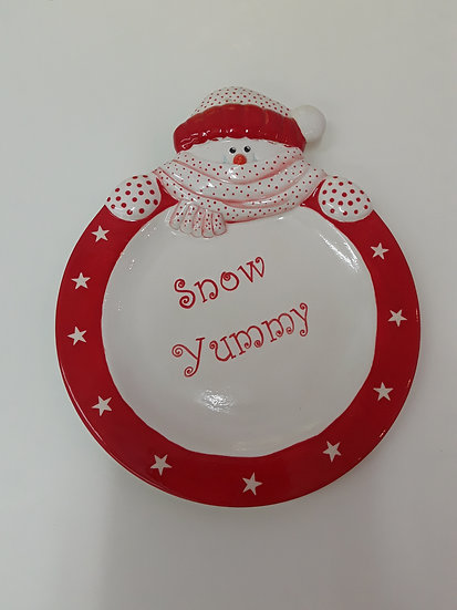 Snowman Plate 29.2cm l x 24.1cm w