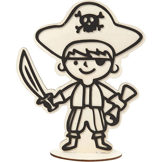 Pirate Wooden Craft Figure 19cm H