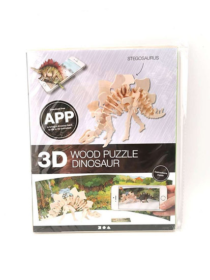 3D Animated Wooden Puzzle - Stegosaurus