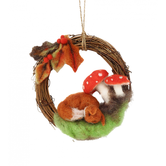 Autumn Fox Wreath - Needle Felting Kit