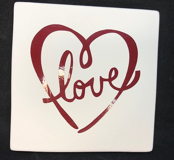 "6"" square clay canvas with love heart template attached"