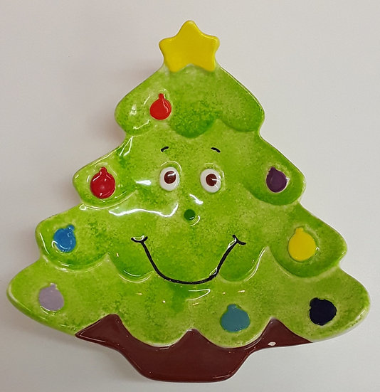 Christmas tree happy face plate - 19cm