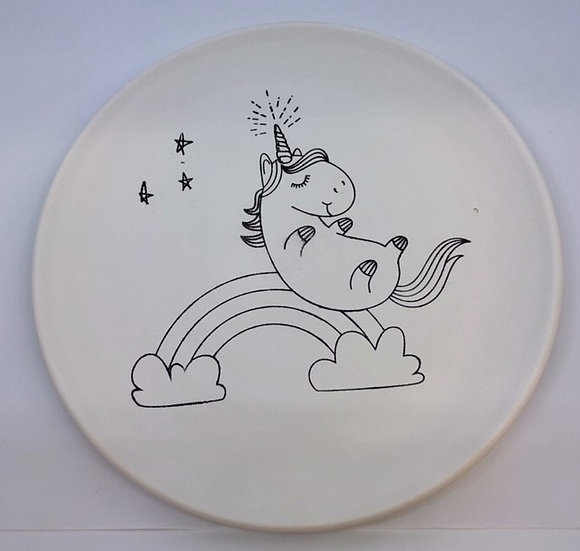 "Preprinted Unicorn / Rainbow 8""Plate"