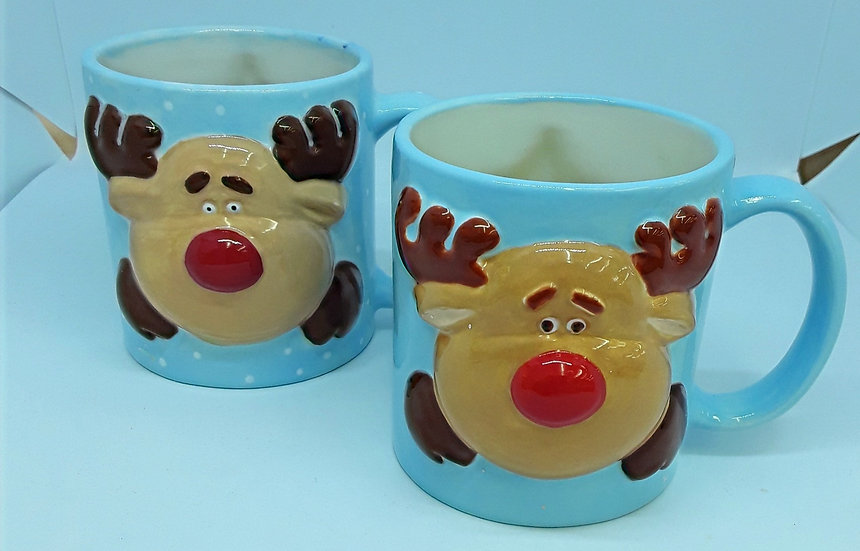 Reindeer Mug with raised detail front and back