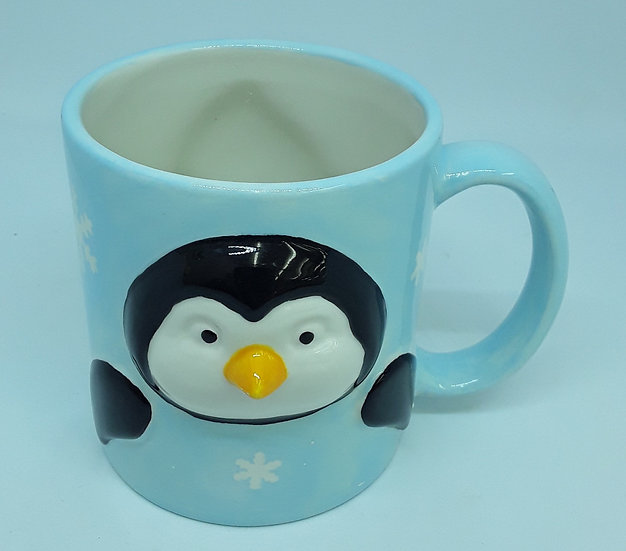 Penguin Mug with raised detail front and back