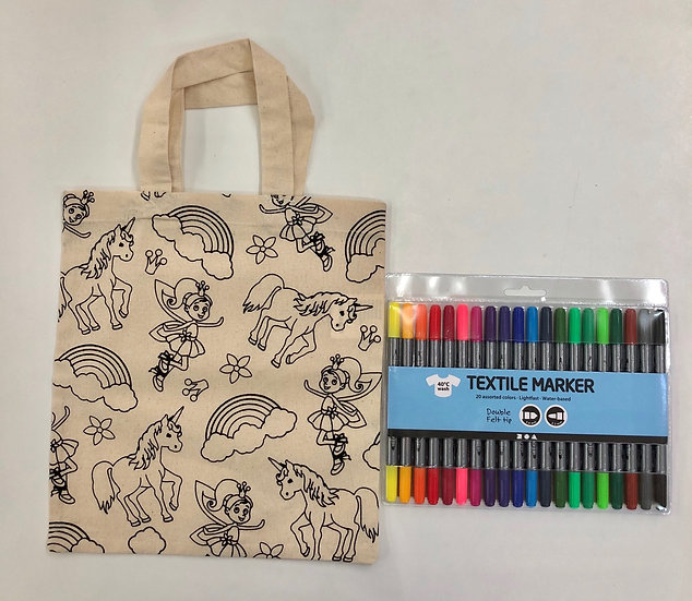 Fairyland bag and textile markers offer
