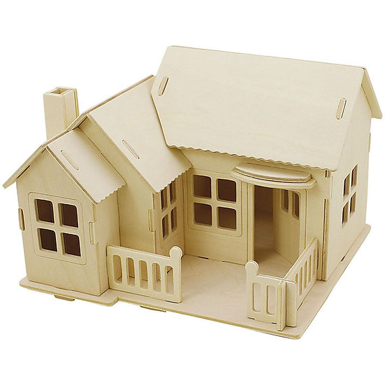 3D Wooden Construction kit - House with Terrace