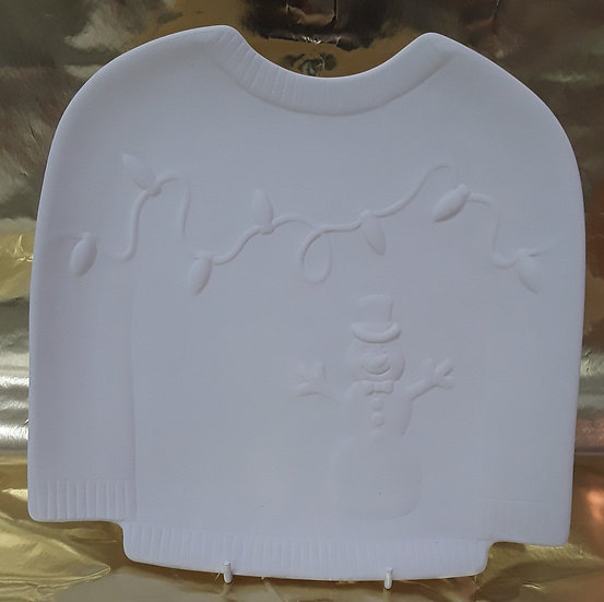 """Sweater Plate with raised snowman detail - 10""""l x 10""""w"""