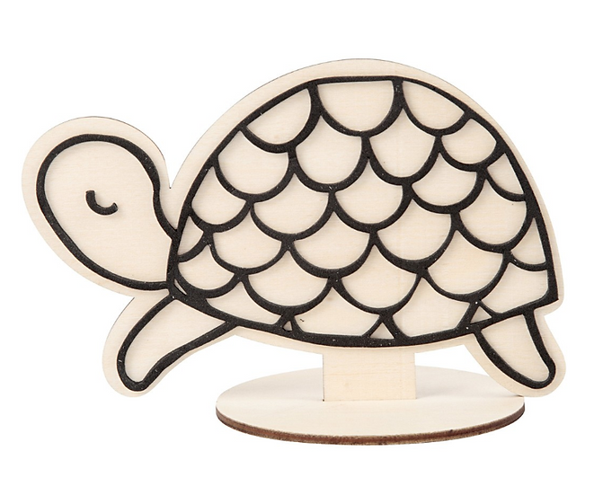 Turtle Wooden Craft Figure 10cm H