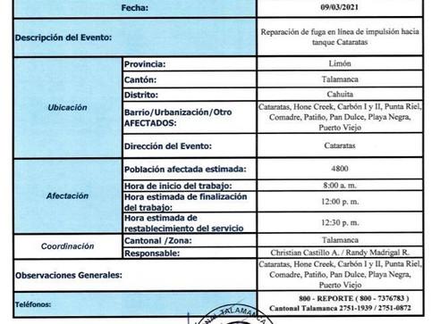 Interrupción del servicio de agua potable en Talamanca