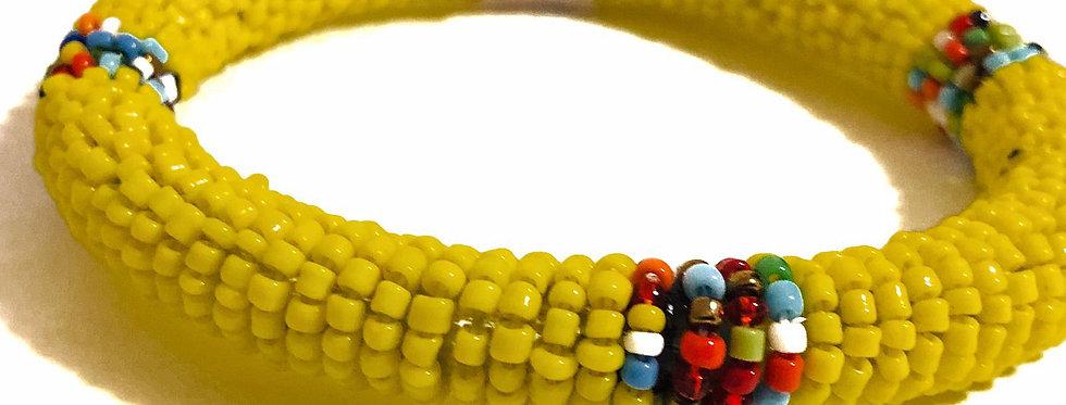 Handmade Maasai Bracelet-Yellow