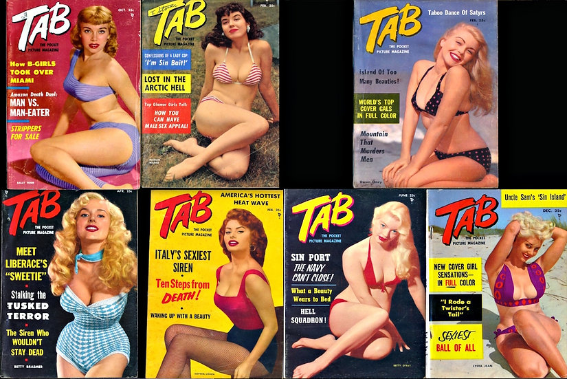 Tab [The Pocket Picture Magazine] (7 vintage pin-up digest magazines, 1955-58)