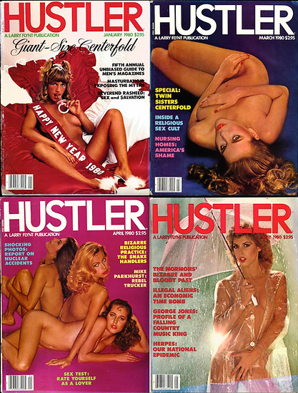 Hustler (4 vintage adult magazines, 1980)