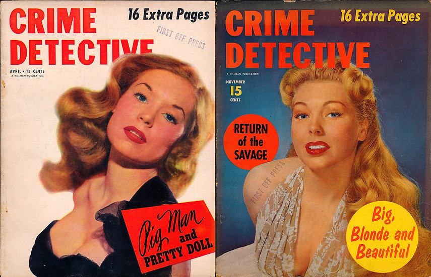 Crime Detective 2 vintage magazines, Betty Brosmer / Jane Easton covers 1952