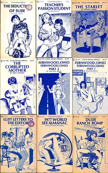 Circle Library Edition (9 vintage adult paperbacks, 1976-77)
