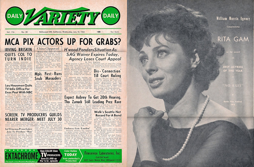 Daily Variety (Vintage entertainment magazine, 1962)