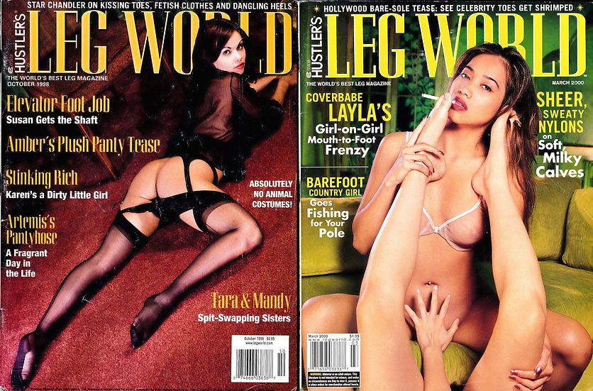 Hustler's Leg World (2 vintage adult magazines, 1998, 2000)