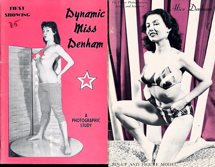 Alice Denham (2 vintage adult pinup digest magazines, 1950s)