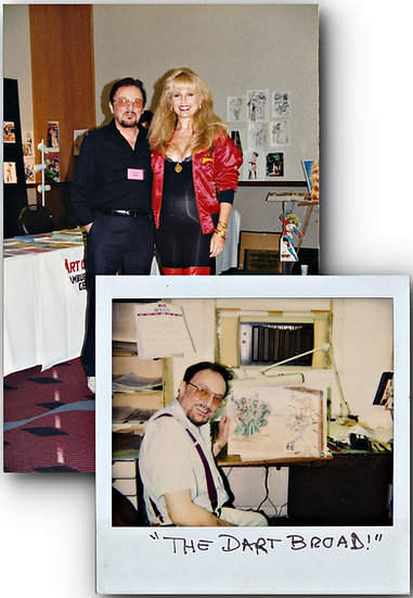 "Eric Stanton and a ""Dart Broad"" (2 original photographs, 1980s)"