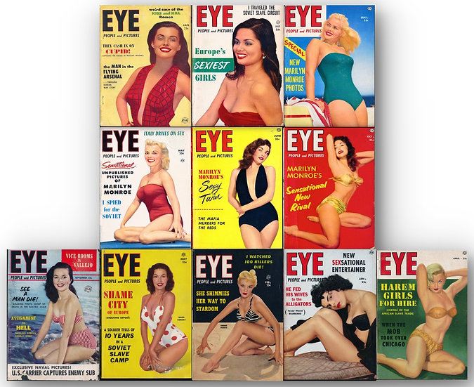 Eye [People and Pictures] (11 vintage tabloid pin-up digest magazines, 1952-54)