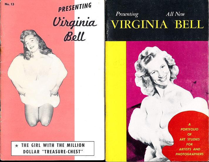 Virginia Bell (2 vintage adult pinup digest magazines, 1950s)
