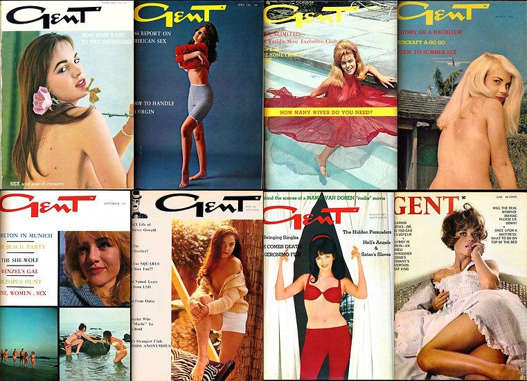Gent (8 vintage adult magazines bound together, 1966-68)