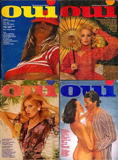 Oui (4 vintage adult magazines, 1970s)
