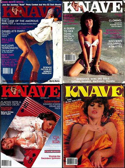 Knave (4 vintage adult magazines, 1978-80)