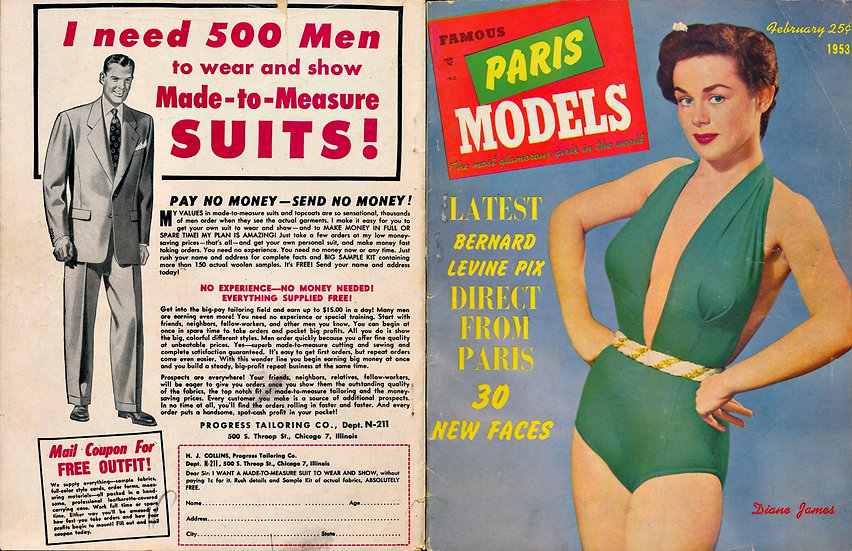 Famous Paris Models [The Most Glamorous Girls...] (Vintage pinup magazine, 1953)